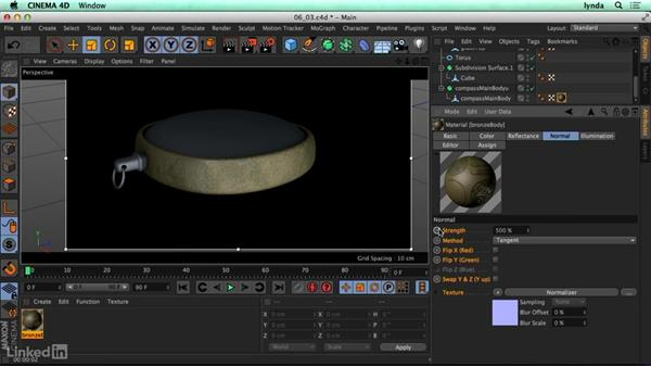 Rough surfaces (bump, displacement, and normals): CINEMA 4D R17 Essential Training
