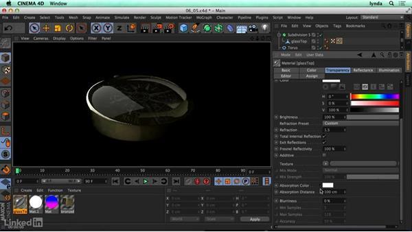 Transparent surfaces (refraction): CINEMA 4D R17 Essential Training