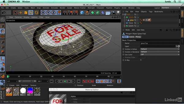 Using an alpha channel (in a label on a bottle): CINEMA 4D R17 Essential Training