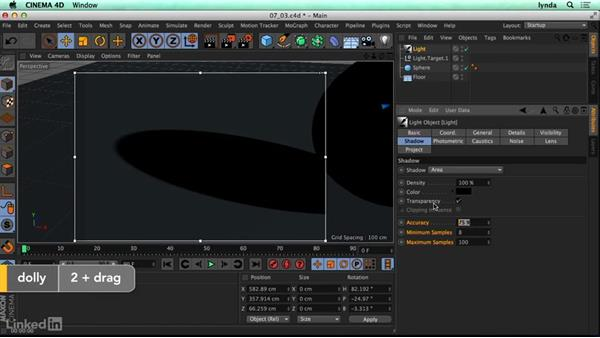 Working with shadows: CINEMA 4D R17 Essential Training