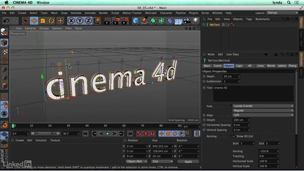 Creating type with MoText: CINEMA 4D R17 Essential Training