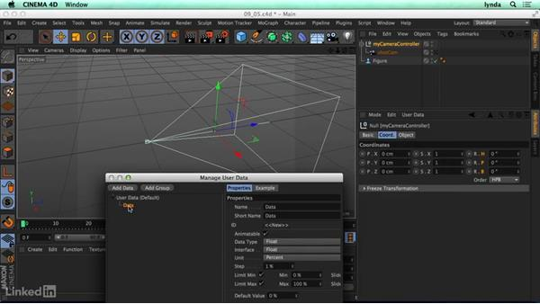 Moving the camera with custom user data: CINEMA 4D R17 Essential Training