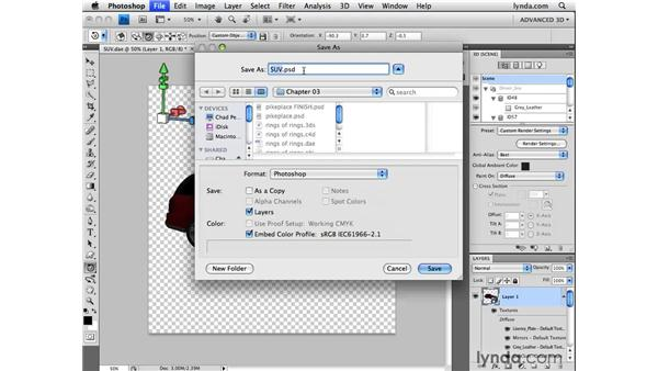 Saving 3D files: Photoshop CS4 Extended for 3D
