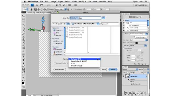 Exporting 3D files: Photoshop CS4 Extended for 3D