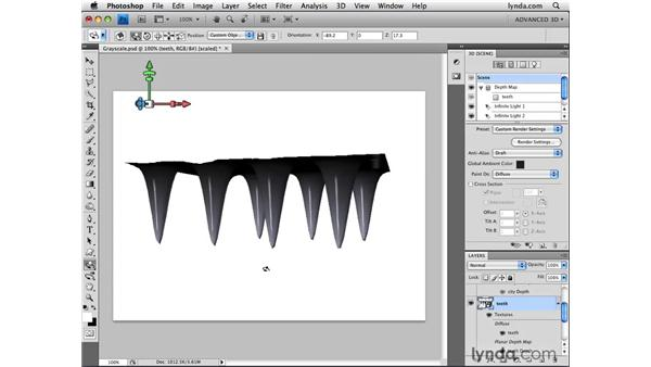 Creating 3D objects from layer luminance: Photoshop CS4 Extended for 3D