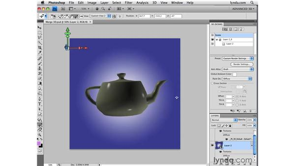 Using the Merge 3D function: Photoshop CS4 Extended for 3D