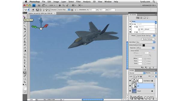 Moving 3D objects: Photoshop CS4 Extended for 3D