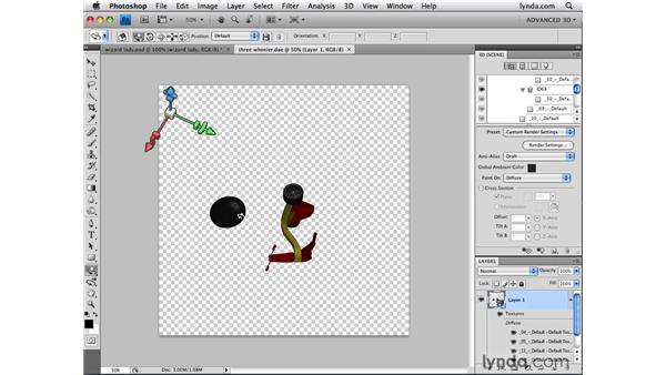 Transforming individual mesh objects: Photoshop CS4 Extended for 3D