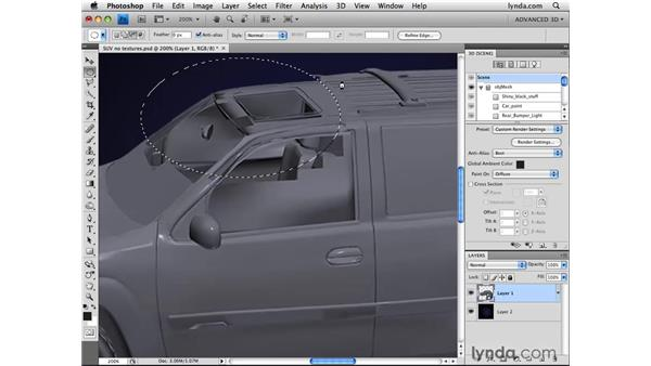 Hiding paint areas: Photoshop CS4 Extended for 3D