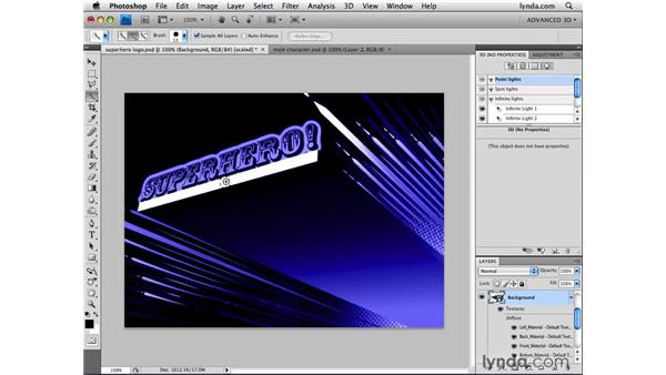 Selecting paint surfaces on 3D objects: Photoshop CS4 Extended for 3D