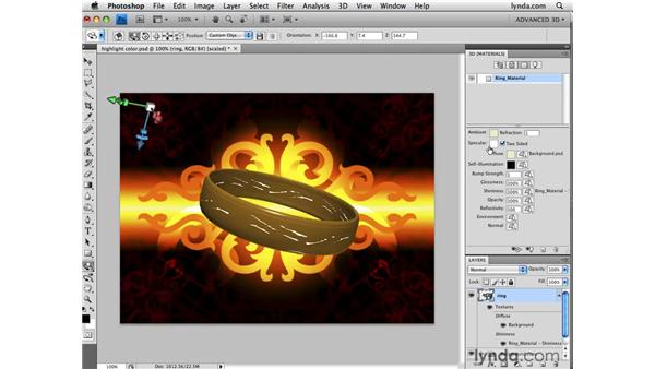 Adjusting the color of specular highlights: Photoshop CS4 Extended for 3D