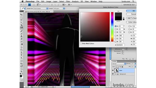 Adjusting ambient light: Photoshop CS4 Extended for 3D