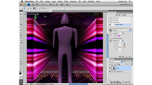 Moving and rotating lights: Photoshop CS4 Extended for 3D