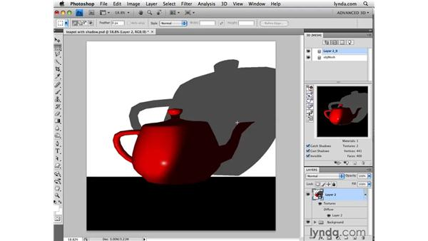 Adjusting how objects respond to shadows: Photoshop CS4 Extended for 3D