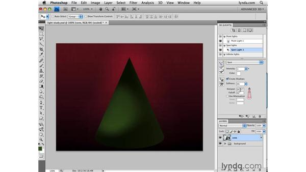 Using the Hotspot and Falloff options: Photoshop CS4 Extended for 3D
