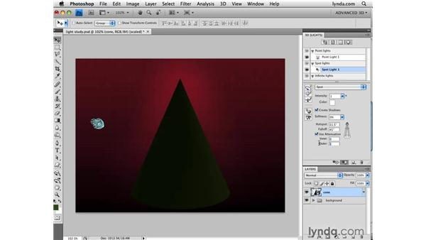 Using light attenuation: Photoshop CS4 Extended for 3D