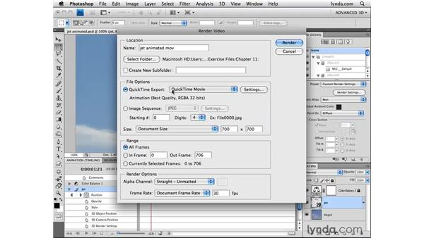 Exporting video: Photoshop CS4 Extended for 3D