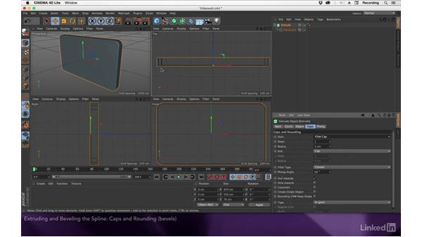 Extruding and beveling the spline