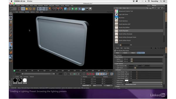 Loading a lighting preset: After Effects Apprentice 17: Video Walls in CINEMA 4D Lite