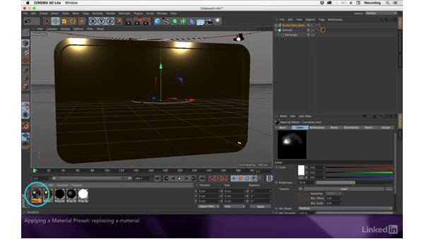 Applying a material preset: After Effects Apprentice 17: Video Walls in CINEMA 4D Lite