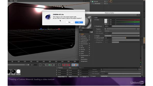 Creating a custom material: After Effects Apprentice 17: Video Walls in CINEMA 4D Lite