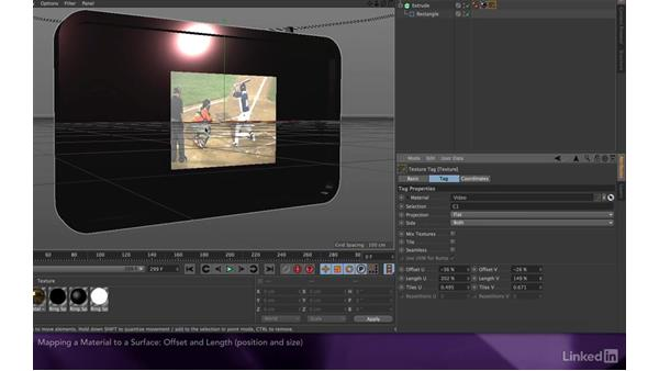 Mapping a material to a surface: After Effects Apprentice 17: Video Walls in CINEMA 4D Lite