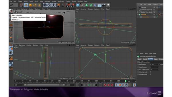 Converting a parametric object to polygons: After Effects Apprentice 17: Video Walls in CINEMA 4D Lite