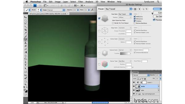 Rendering reflections and shadows: Photoshop CS4 Extended for 3D