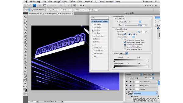Adding layer styles on 3D layers: Photoshop CS4 Extended for 3D