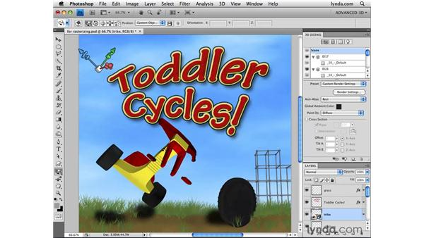 Rasterizing 3D layers down to 2D: Photoshop CS4 Extended for 3D