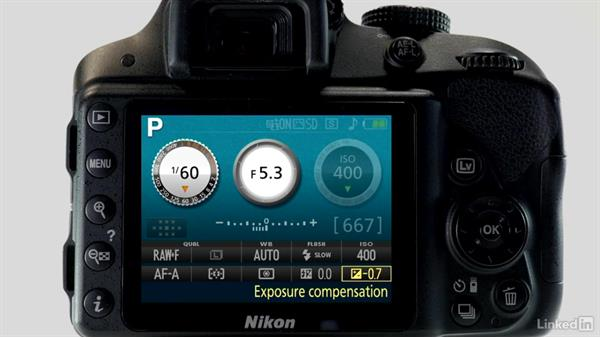 Adjusting exposure compensation: Up and Running with the Nikon D3200 and D3300