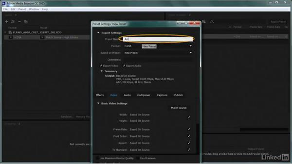 Creating a preset for transcoding: Premiere Pro Guru: Transcoding Workflows