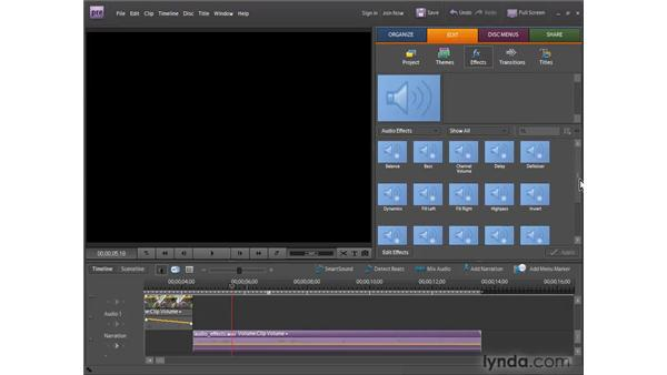 Applying audio effects: Premiere Elements 7 Essential Training