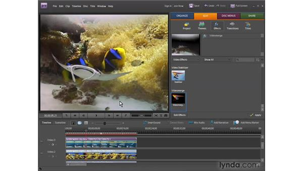 Creating transparency with Videomerge: Premiere Elements 7 Essential Training