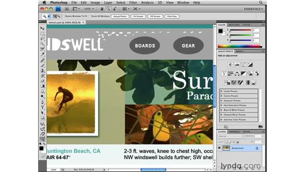 Looking over the interface: Photoshop CS4 for the Web