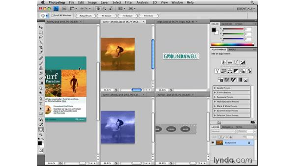 Working with tabbed documents: Photoshop CS4 for the Web