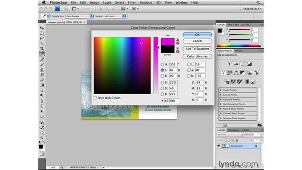 Choosing color with the Color Picker: Photoshop CS4 for the Web