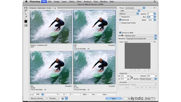 Optimizing photos as JPEGs: Photoshop CS4 for the Web
