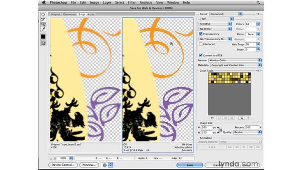 Optimizing transparent graphics for patterned backgrounds: Photoshop CS4 for the Web