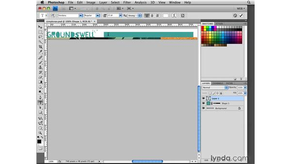 Building a simple navigation bar: Photoshop CS4 for the Web