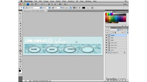 Creating a navigation bar with Smart Object buttons: Photoshop CS4 for the Web