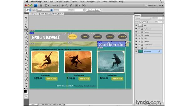 Creating user slices: Photoshop CS4 for the Web