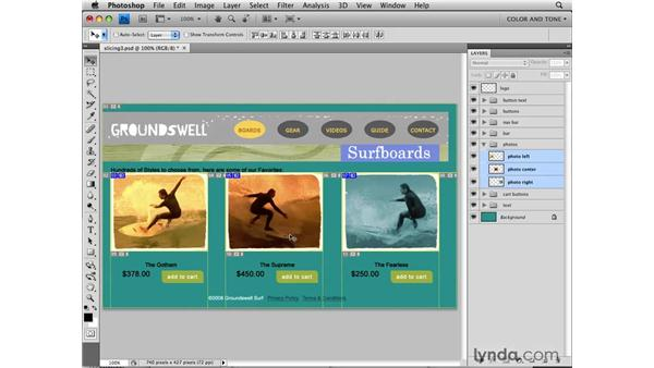 Creating layer-based slices: Photoshop CS4 for the Web