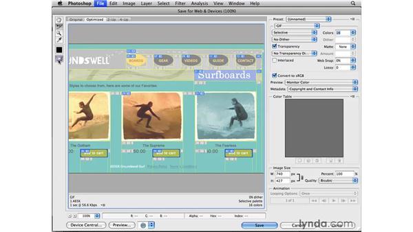 Optimizing and saving slices: Photoshop CS4 for the Web