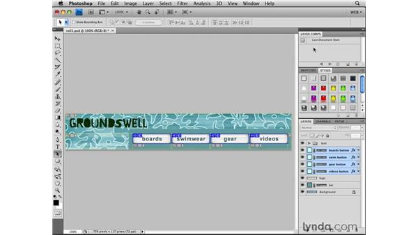 Creating rollover graphics with layer comps: Photoshop CS4 for the Web