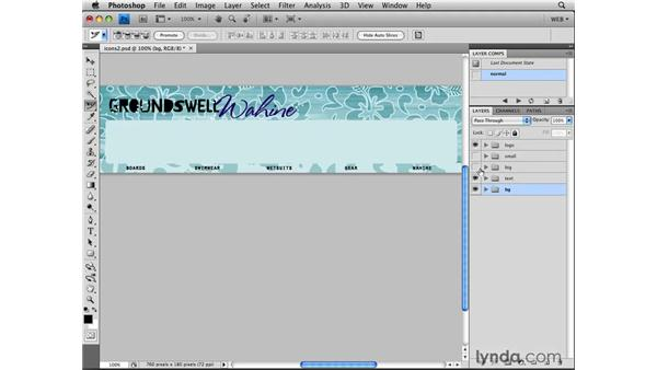 Making rollover graphics from layer visibility: Photoshop CS4 for the Web