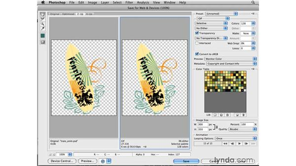 Optimizing transparent animated GIFs: Photoshop CS4 for the Web