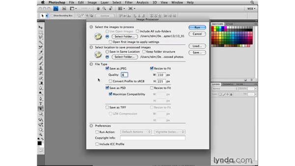 Using the Image Processor: Photoshop CS4 for the Web