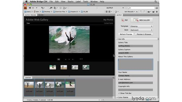 Creating a web gallery in Bridge: Photoshop CS4 for the Web