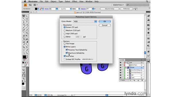 Exporting from Illustrator to Photoshop: Photoshop CS4 for the Web